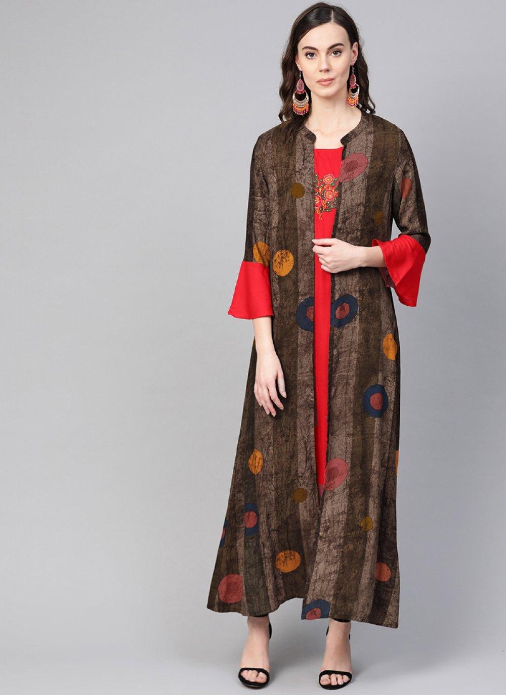 Red Printed Cotton Designer Kurti