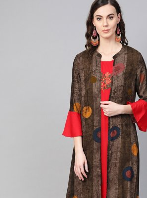Red Printed Cotton Designer Kurti