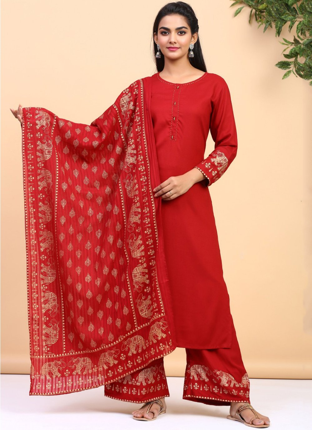 Red Printed Cotton Trendy Palazzo Suit