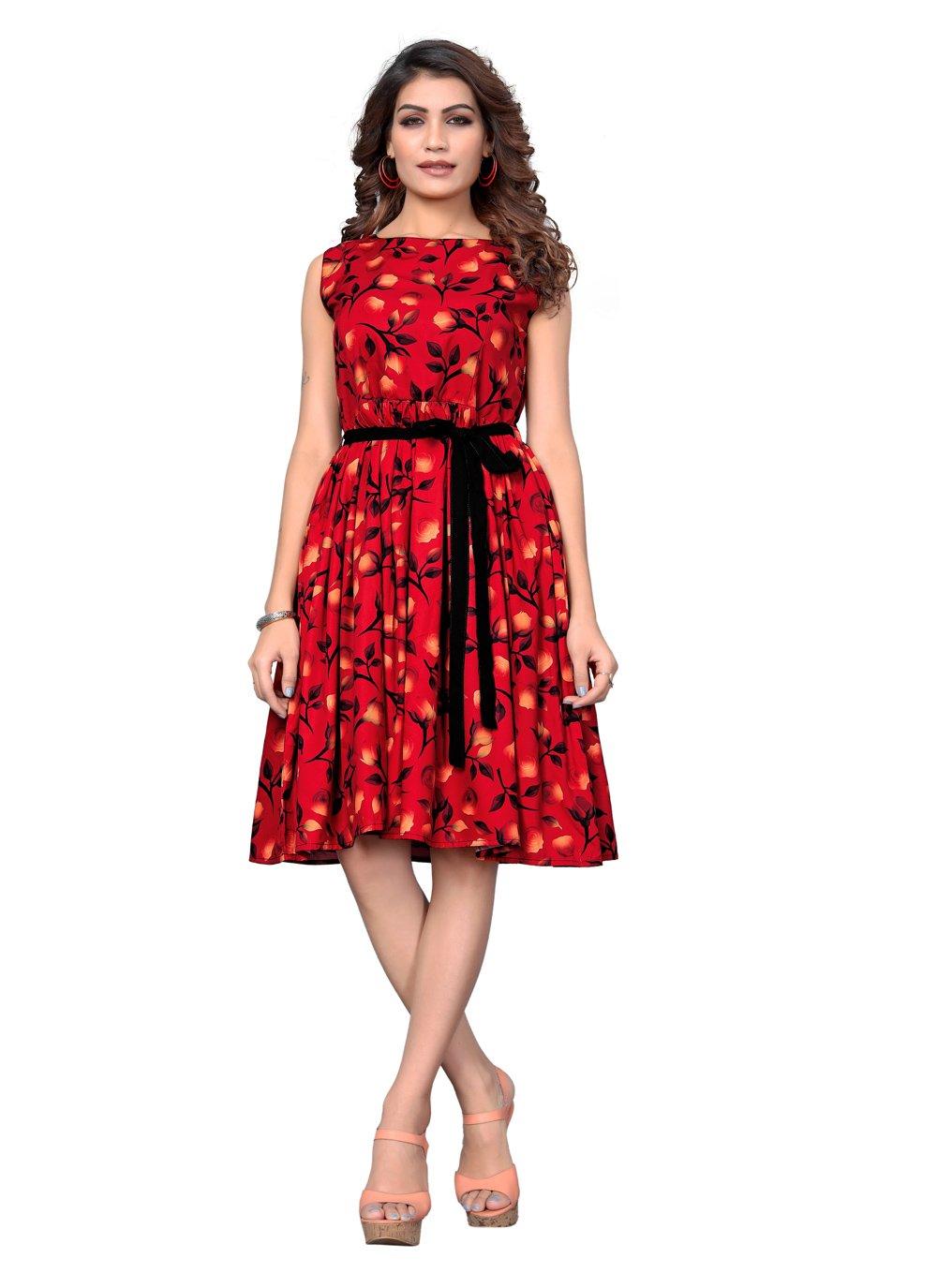 Red Printed Designer Kurti
