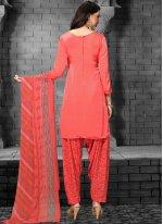 Red Printed Faux Crepe Patiala Salwar Suit