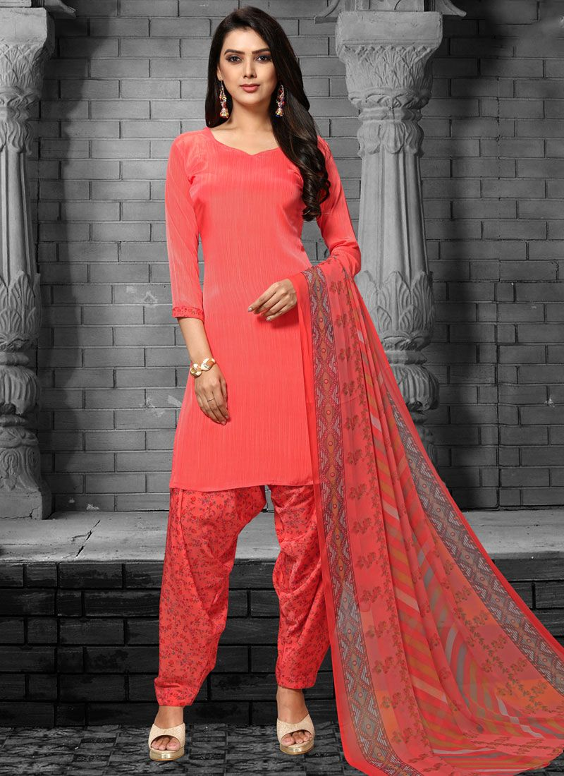Red Printed Faux Crepe Patiala Salwar Suit