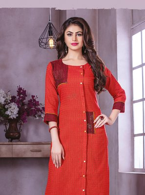 Red Printed Party Wear Kurti
