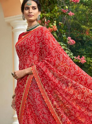 Red Printed Printed Saree