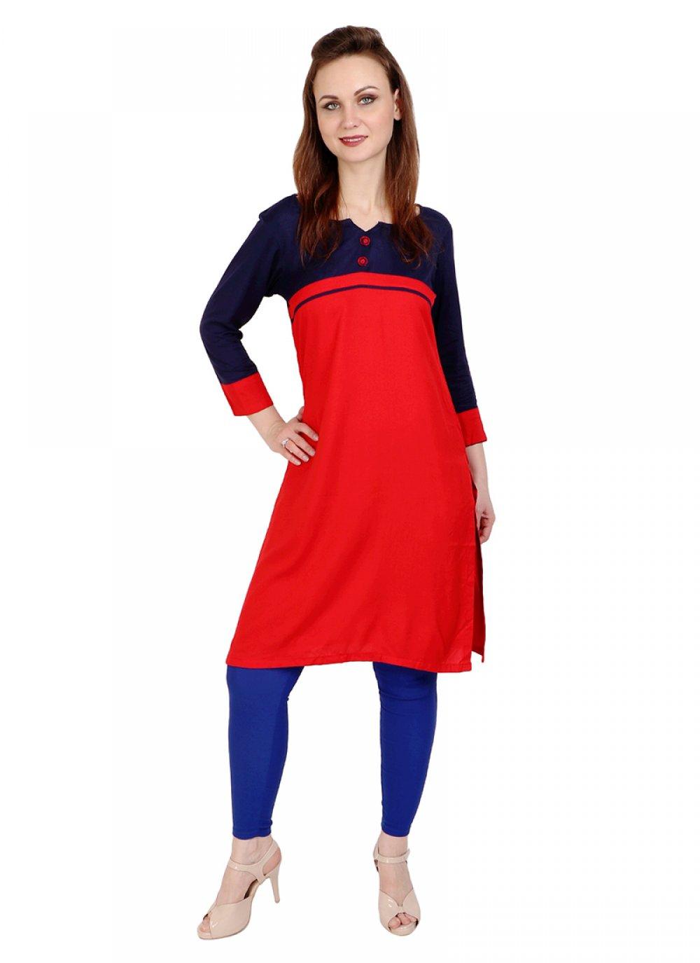 Red Printed Rayon Designer Kurti
