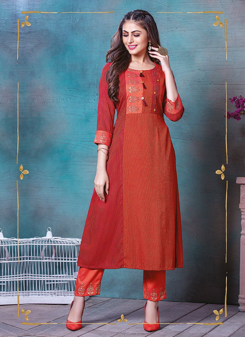 Red Printed Rayon Party Wear Kurti