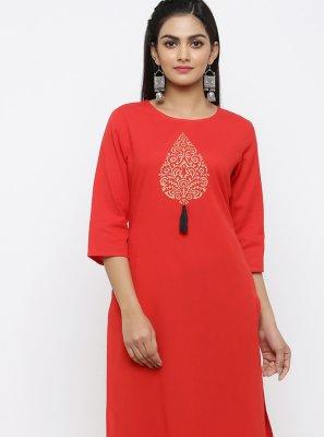 Red Rayon Printed Salwar Kameez