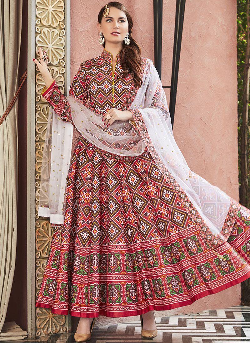 Red Readymade Anarkali Salwar Suit