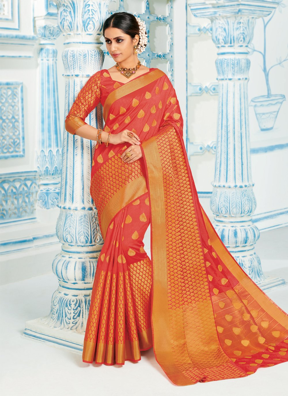 Red Reception Classic Designer Saree