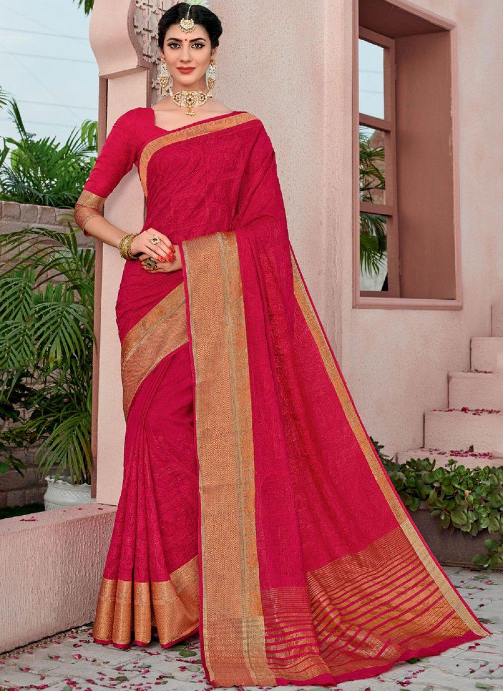 Red Reception Cotton Designer Traditional Saree