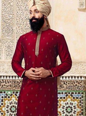 Red Reception Poly Silk Kurta Pyjama