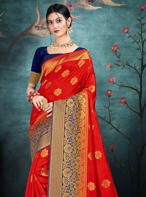 Red Reception Traditional Saree