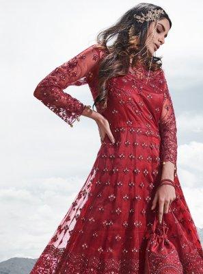 Red Resham Anarkali Salwar Kameez
