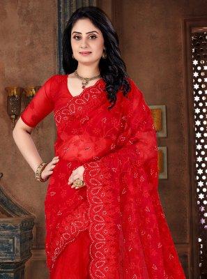 Red Resham Net Classic Designer Saree