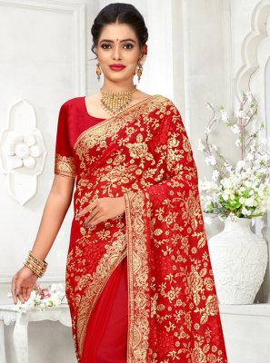 Red Resham Traditional Designer Saree