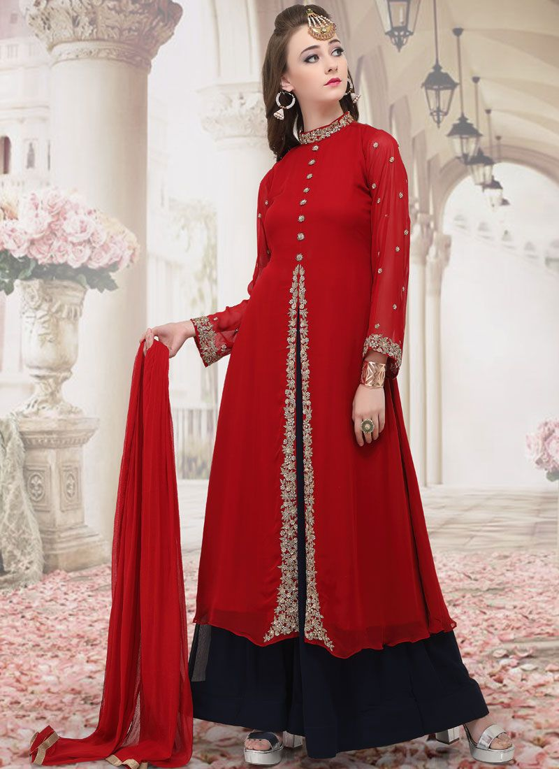 Shop Red Sangeet Georgette Salwar Suit Online 142087
