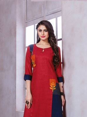 Red Sangeet Party Wear Kurti