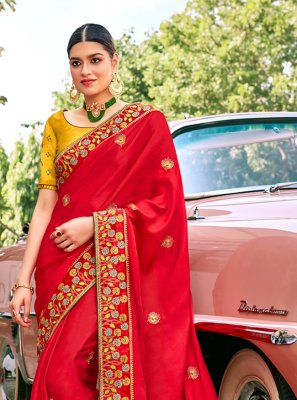 Red Sangeet Traditional Saree