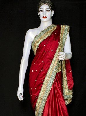 Red Satin Designer Saree