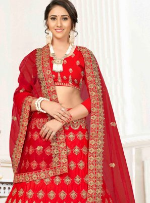 Red Satin Silk Embroidered Trendy A Line Lehenga Choli