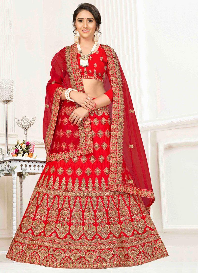 Red Satin Silk Embroidered Trendy A Line Lehenga Choli