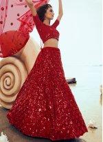 Red Sequins Net Designer Lehenga Choli