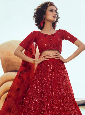 Red Sequins Net Designer Lehenga Choli