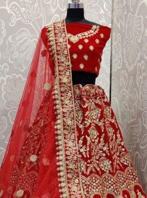 Red Sequins Velvet Trendy Designer Lehenga Choli