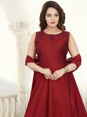 Red Silk Anarkali Salwar Kameez