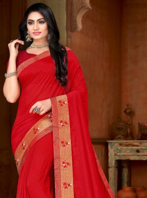 Red Silk Casual Contemporary Saree