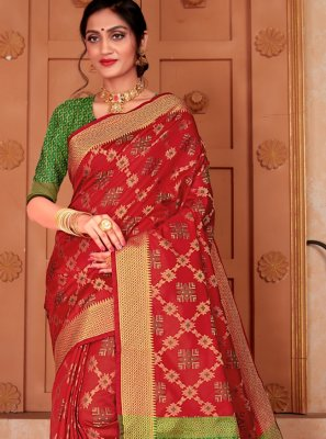 Red Silk Contemporary Saree