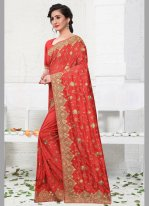 Red Silk Designer Bollywood Saree