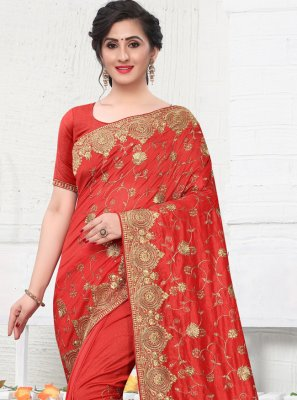 Red Silk Designer Bollywood Saree