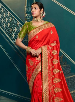 Red Silk Embroidered Contemporary Saree