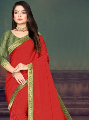 Red Silk Lace Traditional Saree