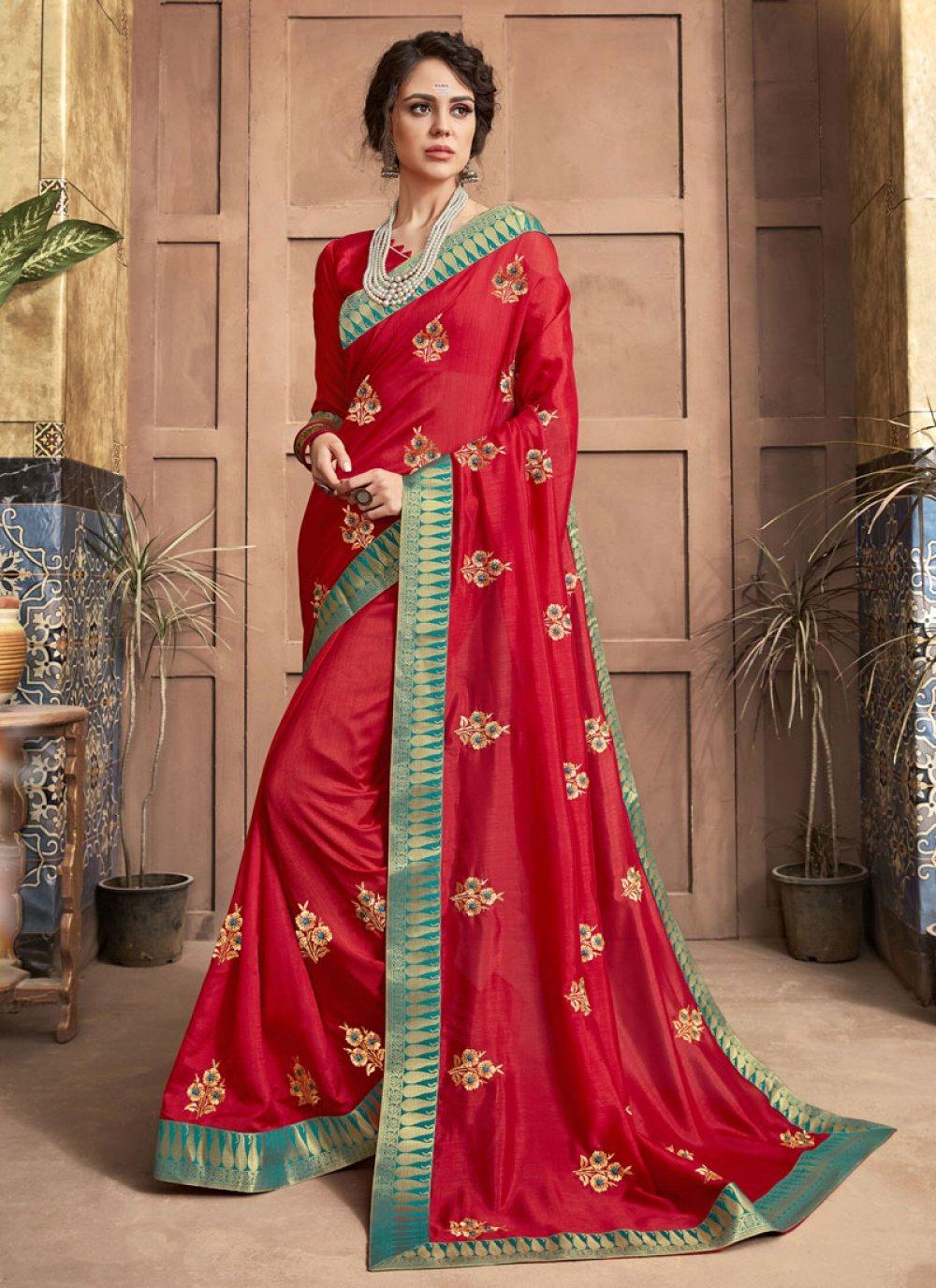 Red Silk Party Designer Saree