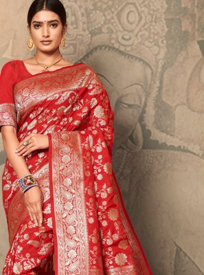 Red Silk Party Trendy Saree