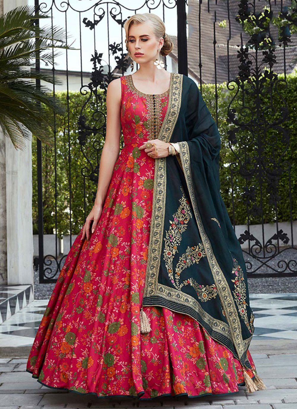 Red Silk Readymade Floor Length Gown