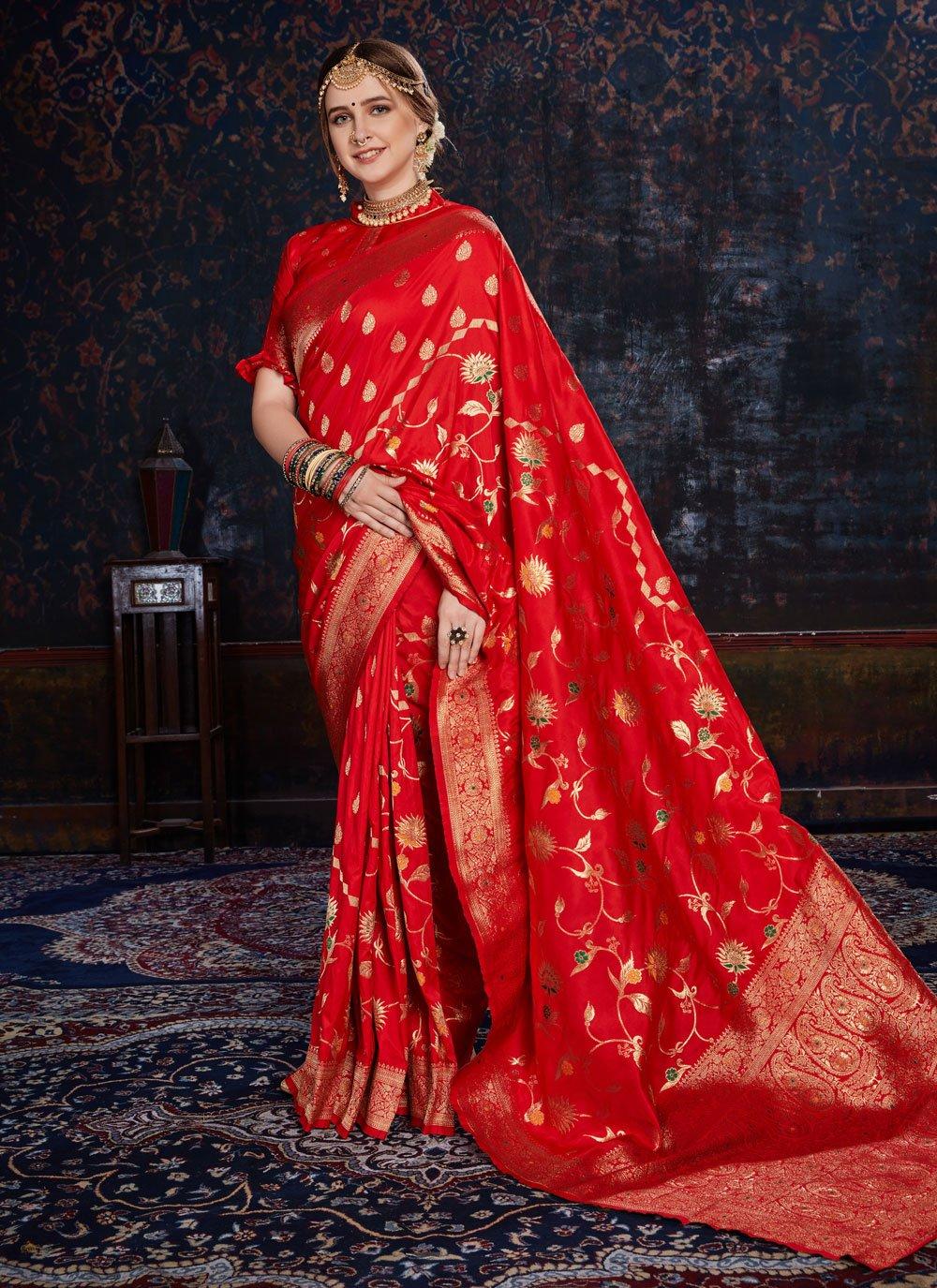 Red Silk Woven Designer Saree