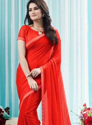 Red Stone Silk Designer Saree