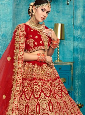 Red Stone Work Reception Trendy Designer Lehenga Choli