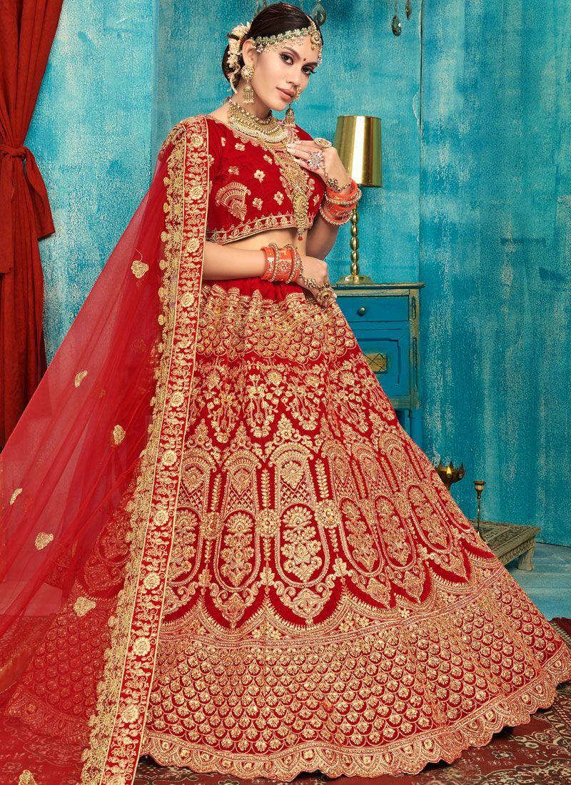 Red Stone Work Reception Trendy Designer Lehenga Choli