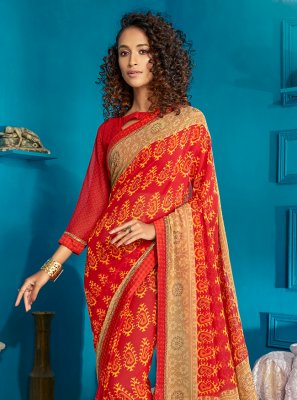 Red Swarovski Contemporary Style Saree