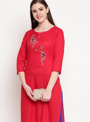 Red Thread Rayon Party Wear Kurti