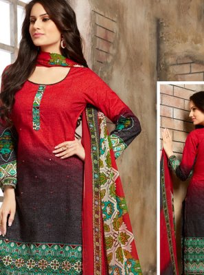 Red Thread Work Trendy Palazzo Salwar Suit