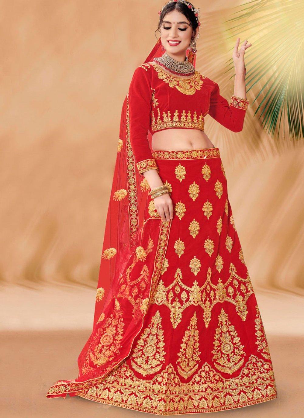 Red Velvet Embroidered Designer Lehenga Choli