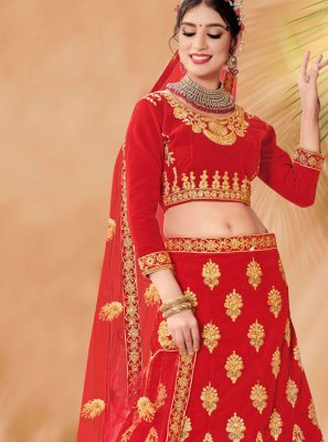 Red Velvet Embroidered Designer Lehenga Choli