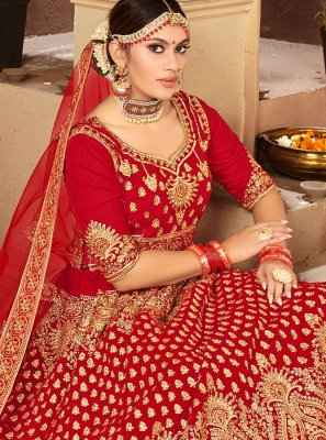 Red Velvet Reception Designer A Line Lehenga Choli