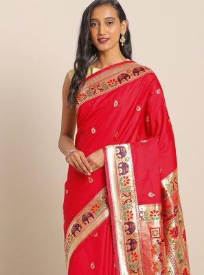 Red Weaving Art Banarasi Silk Saree