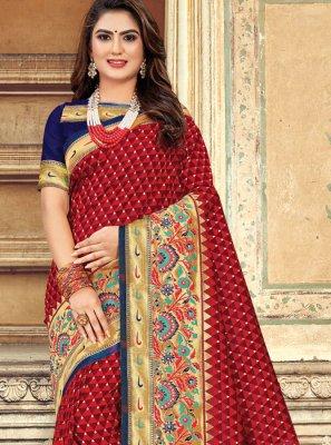 Red Weaving Art Silk Designer Saree